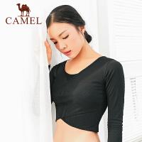 camel骆驼瑜伽长袖运动健身T恤女瑜伽服露脐上衣舞蹈服针织秋冬健身服