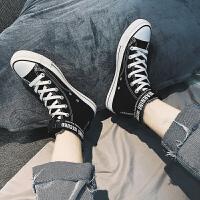 时尚新款夏季潮流男鞋百搭高帮鞋休闲帆布板鞋男士高邦透气潮鞋