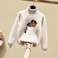 女童毛衣秋冬新款儿童打底衫加绒中大童套头针织衫