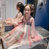 女童齐胸连衣裙春装唐装刺绣春秋中国风汉服长袖襦裙