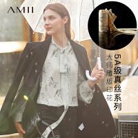 【券后预估价:245元】Amii极简设计5A小众真丝衬衫2020秋季新款印花蝴蝶结桑蚕丝上衣女