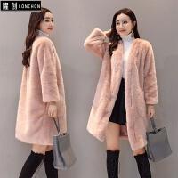 裘皮服装水貂女中长款新款冬毛绒开衫外套仿皮草宽松显瘦大衣 浅粉色