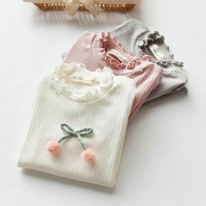 可爱樱桃纯色纯棉卷边长袖打底T恤衫