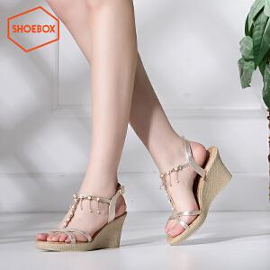 达芙妮旗下shoebox鞋柜夏季新款韩版时尚坡跟凉鞋优雅高跟鞋女鞋