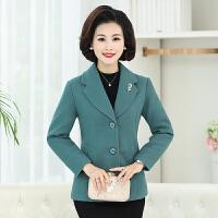40-50岁中年女装秋冬装修身小西装厚品质上衣妈妈装短款毛呢外套