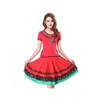 新款广场舞服装套装刺绣花短袖上衣跳舞蹈裙子表演出服装