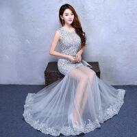 宴会晚礼服女新款高贵优雅鱼尾修身性感长款主持人年会礼服裙