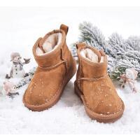 女童短靴儿童雪地靴冬季加绒大童靴子