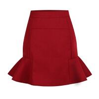 秋冬新款毛呢鱼尾裙包臀短裙女修身显瘦高腰荷叶边呢子半身裙 XS 适合80斤到90斤