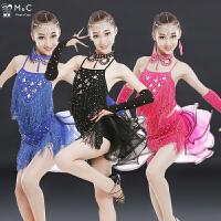 新款儿童拉丁舞裙演出服女孩专业考级舞蹈练功比赛服装