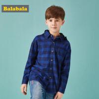 巴拉巴拉儿童衬衫男长袖男童衬衣2018新款秋装童装中大童连帽衫