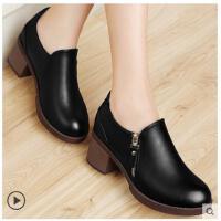 古奇天伦春季新款百搭韩版女士中跟单鞋粗跟高跟鞋防水台圆头NI8468