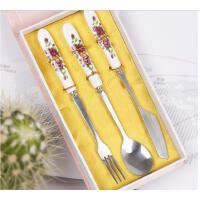 陶瓷玫瑰手柄 不锈钢西餐餐具 牛排刀叉 勺子三件套