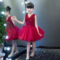 儿童礼服裙婚纱花童公主蓬蓬裙夏季 女童公主裙钢琴演出服小主持人 酒红色