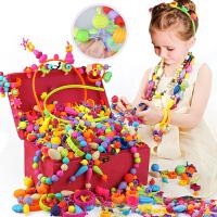 女童动手diy串珠手工制作饰品戒指玩具