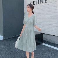 大码女装2019夏季新款微胖妹妹mm法式超仙减龄裙子高腰显瘦连衣裙