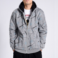 大码男装冬季外套 潮胖子加厚卫衣 青年学生防寒保暖帽衫卫衣外套 128 灰色 XL1~145斤穿