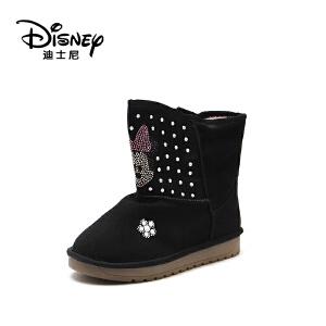 鞋柜/迪士尼冬女童中筒冬靴米妮童鞋短毛绒保暖1