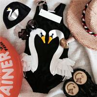 儿童泳衣女孩裙式公主宝宝黑白天鹅游泳衣女童连体可爱火烈鸟泳装