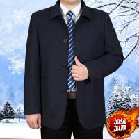 中老年夹克衫加绒加厚毛呢夹克男装翻领爸爸装男士秋冬扣子外套男 蓝灰色加绒 613#