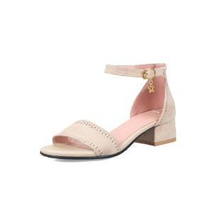 ELEISE美国艾蕾莎新品098-3596学院磨绒中跟女士凉鞋