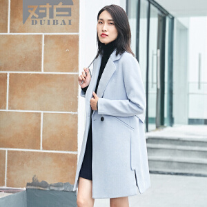 对白直筒廓形毛呢外套女秋冬新款休闲简约翻领呢子大衣