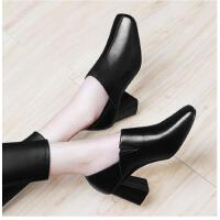 古奇天伦新款韩版百搭黑色皮鞋英伦风单鞋高跟鞋粗跟春季女鞋CDR8907