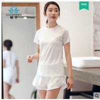 户外新款韩版透气短袖速干衣专健身运动套装女业跑步健身服女