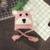 婴儿帽子0-3-6-个月秋冬毛线帽手工宝宝帽子护耳帽保暖男女幼儿