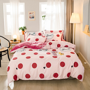 A纯棉B珊瑚绒四件套全棉水晶绒法莱绒被套2米1.5m1.8床单床上用品