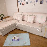夏季沙发垫凉席藤席冰丝夏天凉垫欧式客厅防滑床垫子定做皮沙发套 杏色 火烈鸟-橙