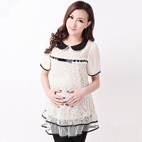 慈颜 韩版夏季时尚雪纺蕾丝边 短袖孕妇连衣裙夏装XSMM3096