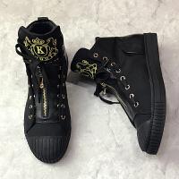 刺绣嘻哈欧美潮牌男鞋高帮鞋男黑色休闲鞋子夜店个性青春潮流板鞋