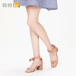 达芙妮集团鞋柜鞋柜18夏纯色甜美优雅蝴蝶结系带粗跟脚腕绊
