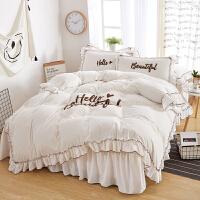 家纺韩式公主风冬季加厚天鹅绒珊瑚绒蕾丝四件套水晶短毛绒1.8m床被套