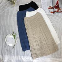 秋冬新款女装纯色百褶气质中长款高腰显瘦学生针织包臀半身裙女