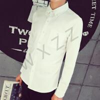 韩观春秋韩版男长袖白衬衣青少年纯色打底衬衫休闲外套免烫寸衫商务潮