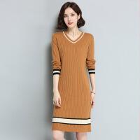 长款女式针织毛衣裙 秋冬新品针织羊毛打底衫 长款V领羊毛衫