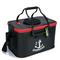 渔具活鱼箱养鱼桶钓箱 垂钓用品户外装鱼护水桶折叠钓鱼桶 黑色 加厚1.3MM