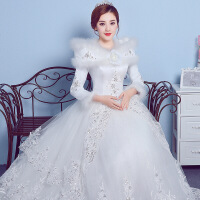 婚纱礼服新款秋冬季大码新娘加厚保暖冬款长袖棉婚纱齐地冬天 白色