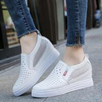 内增高女鞋百搭一脚蹬网鞋坡跟单鞋休闲鞋镂空透气小白鞋