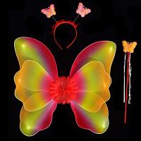 天使蝴蝶翅膀道具�和�奇妙仙子道具精�`花仙子背�表演魔法仙女棒
