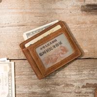 手工复古迷你小零钱包油蜡小卡包头层牛皮日系驾驶证卡包 棕色 油蜡牛皮