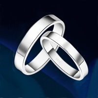 情侣戒指男女活口一对指环s925银对戒开口情侣白金对戒子刻字