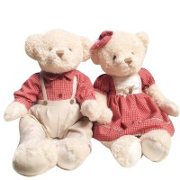 泰迪熊穿衣毛绒玩具熊情侣一对压床娃娃抱抱熊女生日结婚礼物