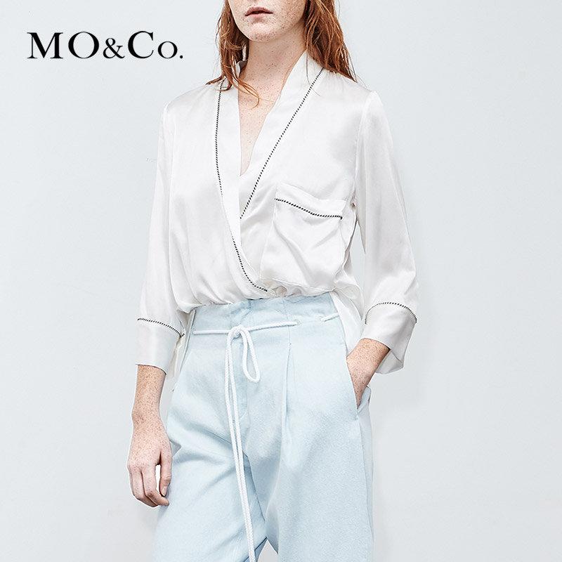 MOCO夏季新品睡衣风V领真丝衬衫上衣MA182TOP109 摩安珂 满399包邮 轻盈真丝材质 慵懒睡衣风