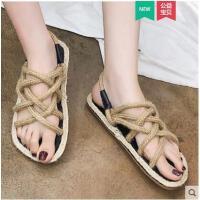 拖鞋女外穿ins潮韩版网红交叉绑带平底一鞋两穿简约百搭一字凉拖