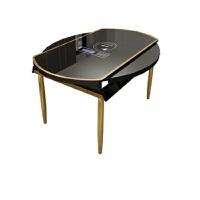 【品牌热卖】餐桌可伸缩轻奢餐桌椅组合 后现代简约钢化玻璃带电磁炉火锅家用桌子 黑色 1.35米无电磁炉