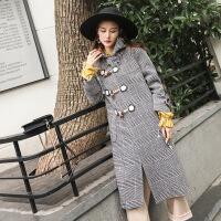 冬季新款连帽直筒格子毛呢大衣女装潮流时尚加长款牛角扣大衣 灰色格子