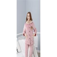 冬季女士法兰绒夹棉睡衣三层加厚女式棉袄加大码长袖家居服套装 粉绒小熊